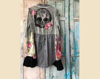Boho dress | Boho Bohemian shirt | recycled clothing | wearable art | upcycled clothing | tunic L | Romantic dress | Bohemian dress |