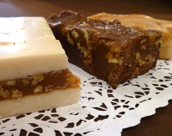 Caramel Lovers Fudge Trio (Dulce de Leche, Chocolate Turtle, Chewy Praline) 1 1/2 pounds