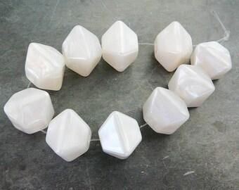Vintage .. Beads Unusual Off White Pearlescent Plastic Flattened Diamond Bead