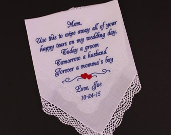 Mother of the Groom gift from groom , wipe away all your happy tears, Mother of the Groom hankie , White or Ivory lace Hankerchief LS0F38