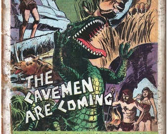 "Aurora Prehistoric Cavemen Comic Ad 10"" X 7"" Reproduction Metal Sign J136"