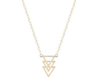 Gold / Silver 3 Triangle Necklace | Adjustable 14k Gold / Silver Plated | Minimalist Gold  / Silver Triangle Necklace