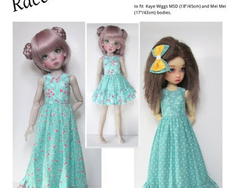 """PDF digital Sewing Pattern SSP-056: """"Dear Dolly"""" for Kaye Wiggs MSD (18"""") and Mei Mei (17"""")  2 maxi dresses, minidress, and petticoats."""