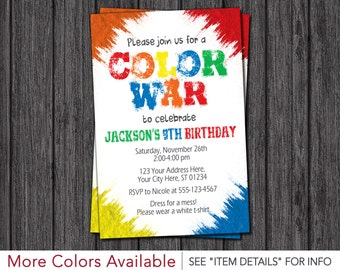 Color War Invitation | Color Run Birthday Party Invitations
