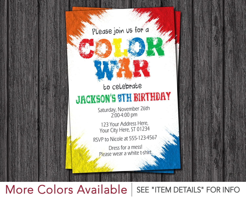 War Invitation Color Run Birthday Party Invitations
