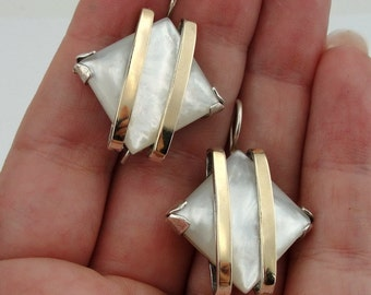 Great Handmade 9K Gold Sterling Silver Textured Pearl Earrings (s e1569