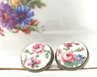 Cottage Roses Stud Earrings, Pink Green Flowers, Shabby Romantic Chic Fabric Button Jewelry Antique Posts Mothers Day Gift Vintage Porcelain