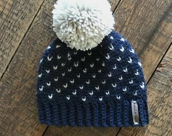 Women's Fair Isle Pom Hat, Crochet Beanie, Womens Winter Hat, Beanie, MADE TO ORDER