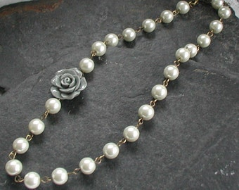 Large Grey Flower Necklace Beaded Cream Ivory Glass Pearls Necklace Vintage Style