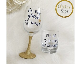 His and Hers Wine & Whiskey Glass Set // Wedding Gift // Engagement Gift // Glass of wine // Shot of Whiskey // Matching Set // Mr and Mrs