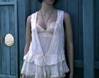 Vintage cotton lace vest