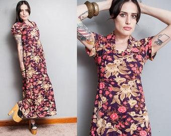 Vintage 1970's | Purple | Floral | Boho | Hippie | Maxi | Dress | S