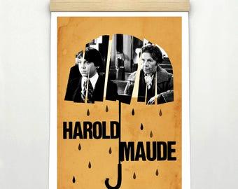 "HAROLD AND MAUDE, Original Art, Minimalist Movie Poster Print 24 x 36"""
