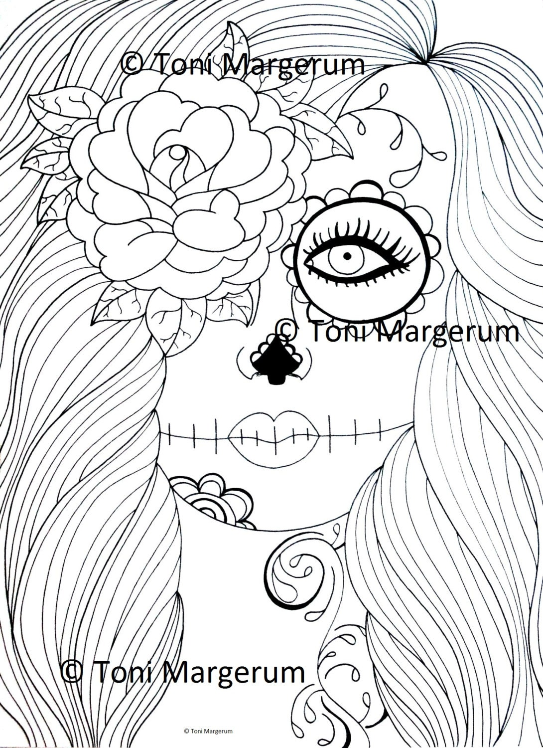Adult Coloring Page Sugar Skull Girl Art Day of the Dead