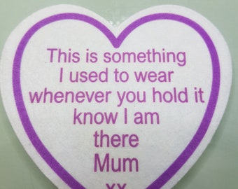 Printed heart memory patch, something I used to wear, memorial patch to sew on quilts, pillows, cushions, bears, patches, memory patch, Mum