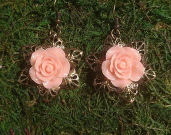 Steampunk Pink Rose Earrings