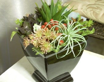 Faux Succulents in Modern Black Vase, Contemporary Black Planter With Artificial Succulents, Indoor Garden Of Faux Succulents