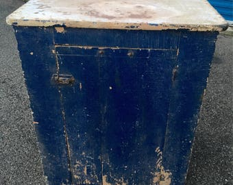 Primitive Cupboard Custom Cabinet French Blue Paint 29w35h22d Shipping is not free