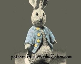 Vintage Rabbit Toy Knitting Pattern Bunny  Peter Rabbit PDF735 from ToyPatternLand and WonkyZebra