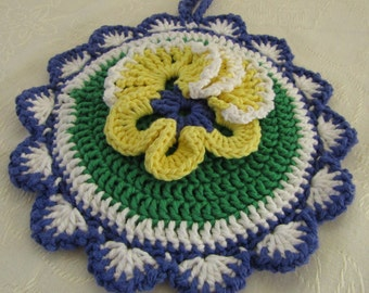 Crocheted Hot Mat Trivet Pot Holder 100% Cotton Yarn Double Thickness Yellow Pansy Decoration