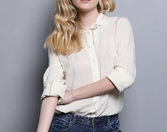 Cream blouse, womens blouses, cream button down blouse, long sleeve blouse, cream collar blouse