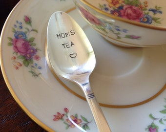 Moms Tea    vintage silverware hand stamped spoon