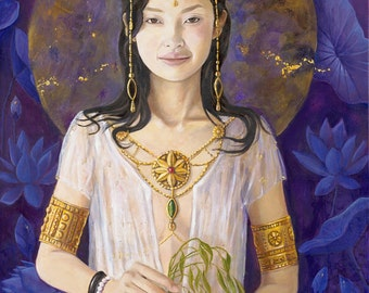"Guan Yin Mother of Mercy and Compassion , Reproduction Giclee on canvas - 24""x36"""