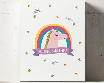 Unicorn Baby Shower Guestbook, Unicorn Theme Baby Shower Guest Book Alternative, Unicorn Guest Book, Sign-In Rainbow Poster,Girl Baby Shower