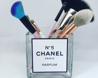 Chanel No5 glass cube make up brush holder
