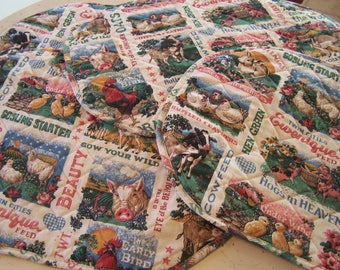 4 Vintage Country Farm Animals Placemats, Quilted Place Mats, Kitchen Table Linens