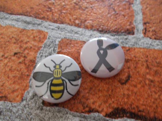 25mm/1 Inch Button Badges   Ribbon Bunny Ears, Manchester Worker Bee Pin Badge, Collectable, Quirky Badge, by Etsy