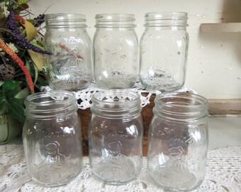 6 Vintage Clear Mom's Mason Pint Sized Jars NO LIDS B830