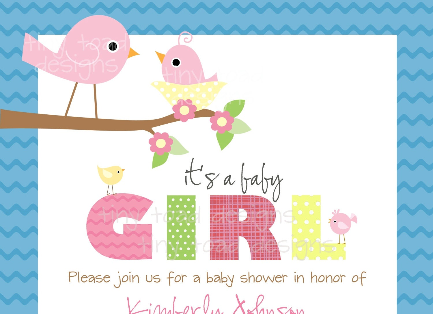 Baby birds baby shower invitations baby girl diy zoom filmwisefo Image collections