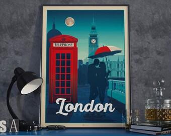Londres, Inglaterra, Vintage, viaje, cartel, vendimia, impresión, pared, arte, hogar, decoración, pared, decoración, regalo, idea