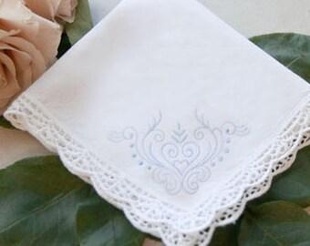 Something Blue Embroidered handkerchief, bride handkerchief , wedding accessories, wedding gift