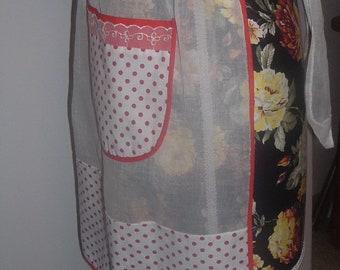 Vintage White Organdy Red Dot Half Apron, Medium