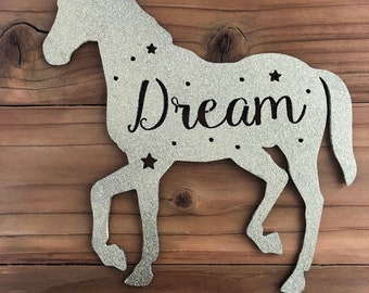 "Unicorn Dream - 12"" Gold Glitter Metal Unicorn -  For Art, Sign, Decor - Make your own DIY Gift!"