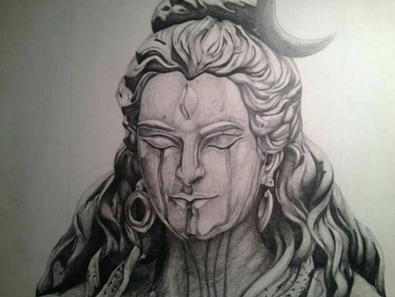 12in x 14in graphite drawing of lord shiva