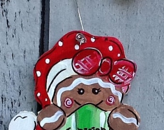 Gingerbread ornament, gingerbread gift tag, cup cake ornament, gingerbread baker ornament, kitchen ornament, cafe ornament, 1st christmas
