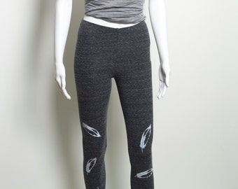 Organic Cotton Leggings with Recycled Polyester Womens Size Small Charcoal Gray Screen Printed Spandex Yoga Exercise Wear USA Ecofriendly