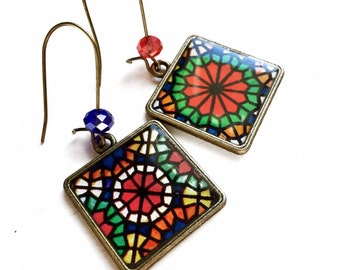 OROSI non-matching earrings - Vitrail painting on glass - old stained glass - ancient stained-glass windows