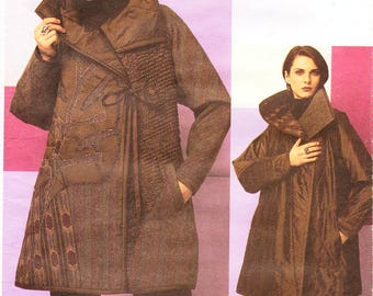 Sz 16/18 - Vogue Coat Pattern 2757 by KOOS COUTURE - Misses' Quilted, Loose-Fitting, Reversible Flared Jacket - Vogue American Designer