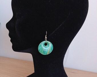 Pebble earrings green inks / blue
