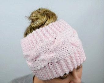 Wide Headband, Messy Bun Headband, Knit Head Wrap, Pink Sparkle Large Earwarmer, Pony Tail Head band, Winter Headband, Ski Ear Warmer