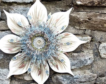 Neutral Wall Art, White Wreath, Wood Wall Art, White Wall Art, Metal Wall Decor, White Flowers Wall Art, Neutral Wall Decor, Neutral Wreath