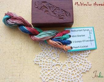 Hand painted matt cotton floss package #4 hand dyed thread for embroidery, cross stitch, punto cruz, point de croix, blackwork