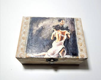 Decoupage Box Jewelry wooden Box Wedding Wishes Box Vintage Box Storage box jewellery wooden box keepsakebox rustic box