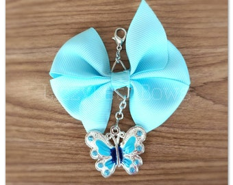 Blue Butterfly pinwheel bow planner charm, purse charm, zipper pull, pinwheel bow, insect charm, blue, butterfly, spring