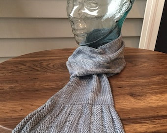 Fair trade silver blue pull-through silky knit scarf