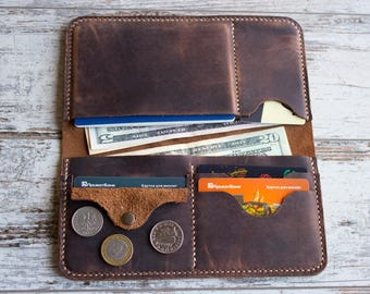 Travel wallet Mens passport wallet Personalized passport Long passport travel wallet Leather organizer Father's day gift Travel gift for him
